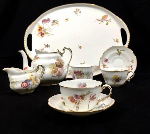 Antique George Jones & Sons Crescent Tea Set For Two On Tray / Tea Pot / Cup
